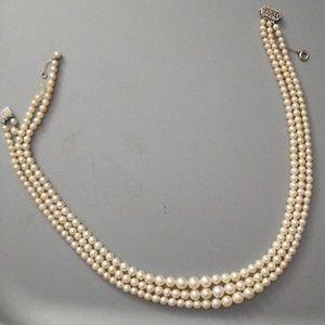 Antique Graduated Triple Pearl Necklace REPAIR
